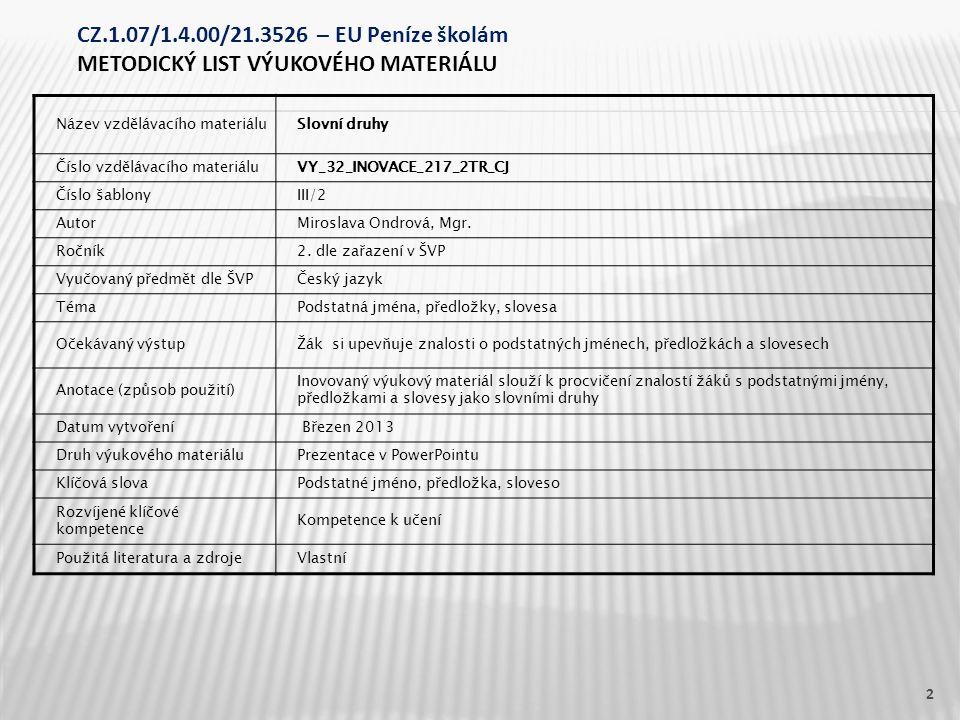 Název vzdělávacího materiáluSlovní druhy Číslo vzdělávacího materiáluVY_32_INOVACE_217_2TR_CJ Číslo šablonyIII/2 AutorMiroslava Ondrová, Mgr.