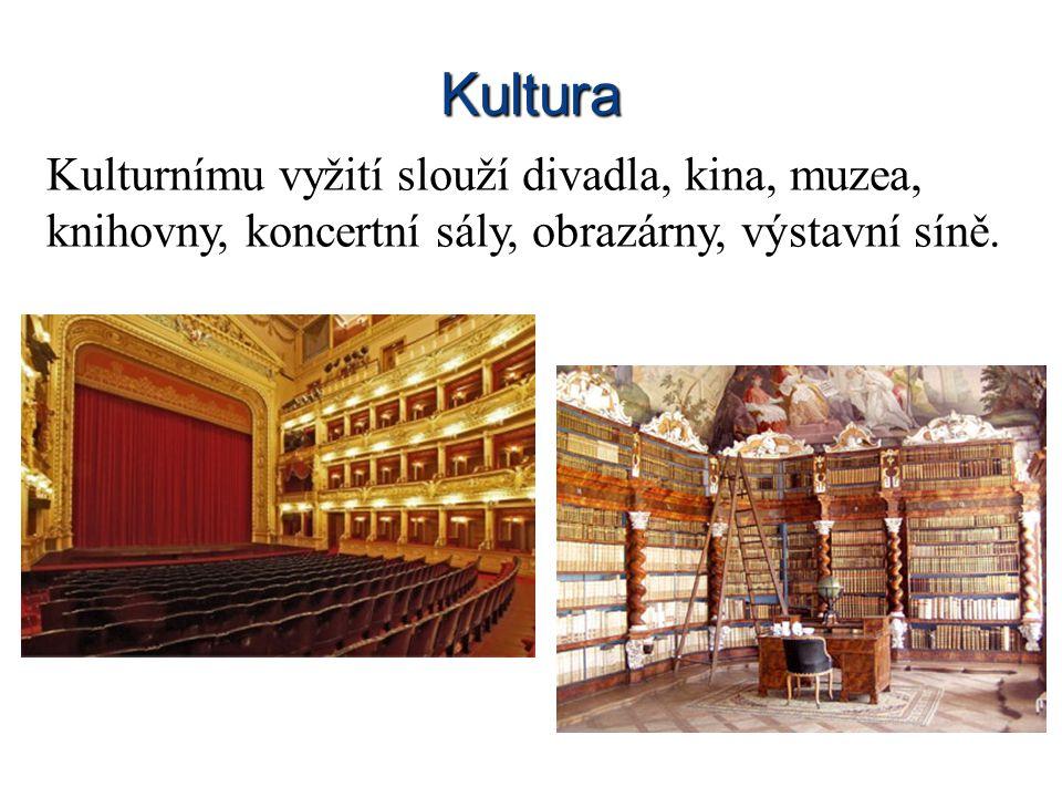 Kultura Kulturnímu vyžití slouží divadla, kina, muzea, knihovny, koncertní sály, obrazárny, výstavní síně.