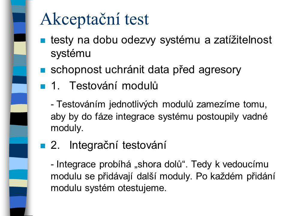 Akceptační test n testy na dobu odezvy systému a zatížitelnost systému n schopnost uchránit data před agresory n 1. Testování modulů - Testováním jedn