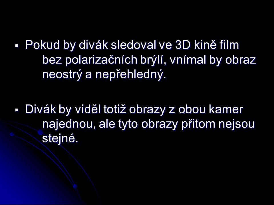  Pokud by divák sledoval ve 3D kině film bez polarizačních brýlí, vnímal by obraz neostrý a nepřehledný.  Divák by viděl totiž obrazy z obou kamer n