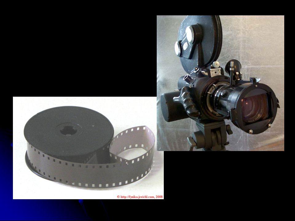Hlavní součásti filmové kamery:  Objektiv - zaostřující dopadající světlo na filmový pás  Závěrka k regulaci clony  Clona zajišťující expozici v daný přesný okamžik