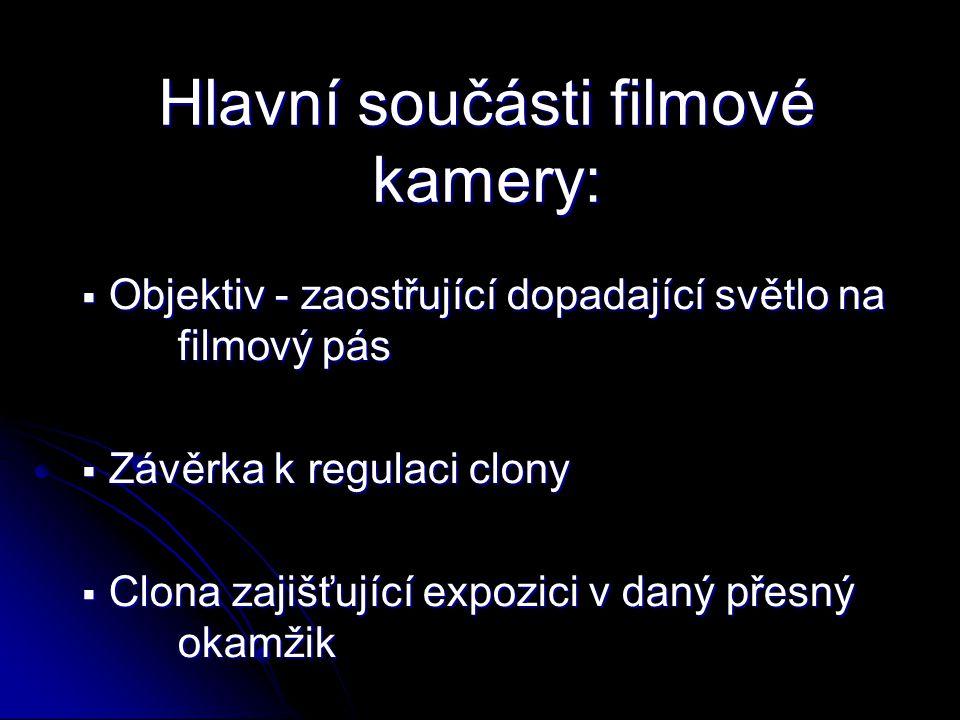 Hlavní součásti filmové kamery:  Objektiv - zaostřující dopadající světlo na filmový pás  Závěrka k regulaci clony  Clona zajišťující expozici v da