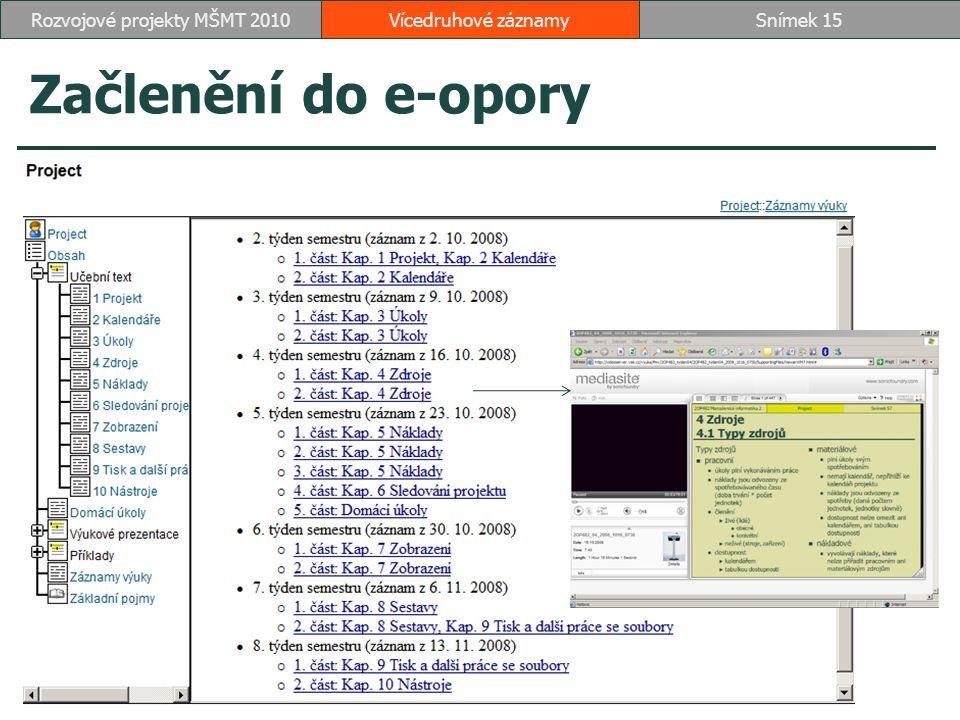Začlenění do e-opory Vícedruhové záznamySnímek 15Rozvojové projekty MŠMT 2010