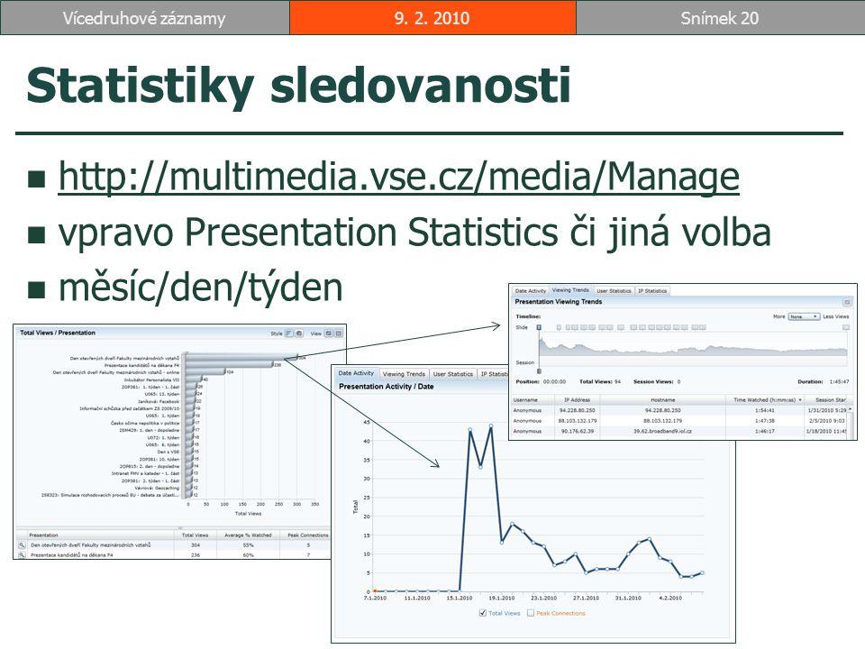 Statistiky sledovanosti http://multimedia.vse.cz/media/Manage vpravo Presentation Statistics či jiná volba měsíc/den/týden 9.