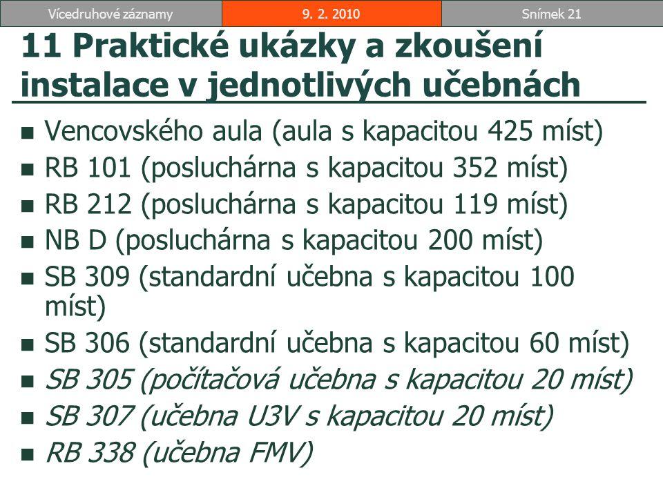 11 Praktické ukázky a zkoušení instalace v jednotlivých učebnách Vencovského aula (aula s kapacitou 425 míst) RB 101 (posluchárna s kapacitou 352 míst) RB 212 (posluchárna s kapacitou 119 míst) NB D (posluchárna s kapacitou 200 míst) SB 309 (standardní učebna s kapacitou 100 míst) SB 306 (standardní učebna s kapacitou 60 míst) SB 305 (počítačová učebna s kapacitou 20 míst) SB 307 (učebna U3V s kapacitou 20 míst) RB 338 (učebna FMV) 9.