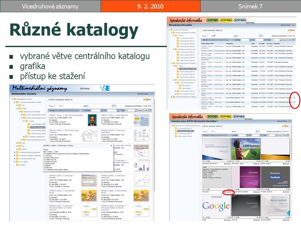 Různé katalogy vybrané větve centrálního katalogu grafika přístup ke stažení 9.