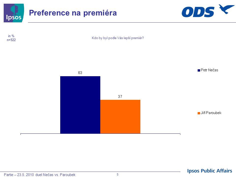 Partie – 23.5..2010 duel Nečas vs. Paroubek 5 Preference na premiéra Kdo by byl podle Vás lepší premiér? in % n=522