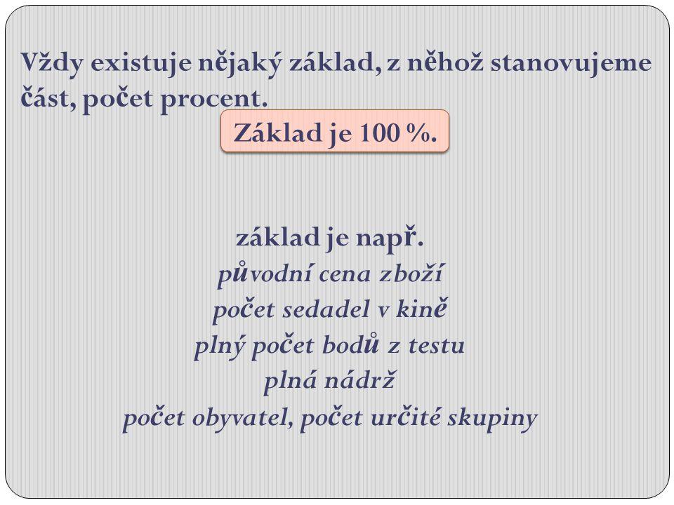 Vždy existuje n ě jaký základ, z n ě hož stanovujeme č ást, po č et procent.