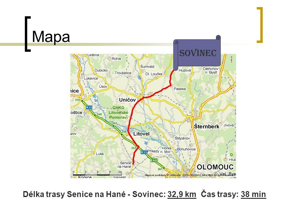 Mapa Sovinec Délka trasy Senice na Hané - Sovinec: 32,9 km Čas trasy: 38 min