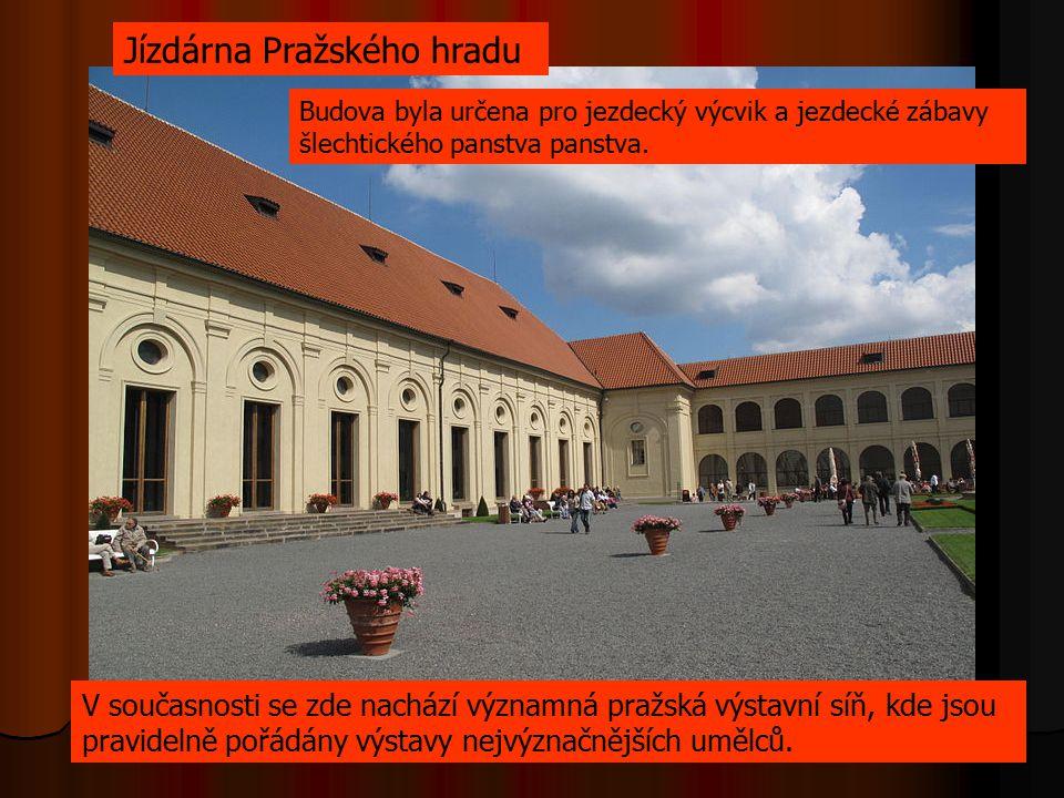 Budova byla určena pro jezdecký výcvik a jezdecké zábavy šlechtického panstva panstva. V současnosti se zde nachází významná pražská výstavní síň, kde