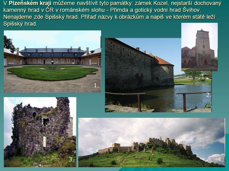 V Plzeňském kraji můžeme navštívit tyto památky: zámek Kozel, nejstarší dochovaný kamenný hrad v ČR v románském slohu - Přimda a gotický vodní hrad Švihov.