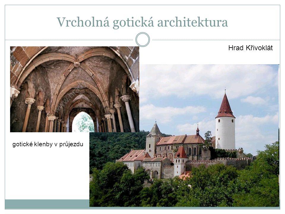 Hrad Křivoklát gotické klenby v průjezdu Vrcholná gotická architektura