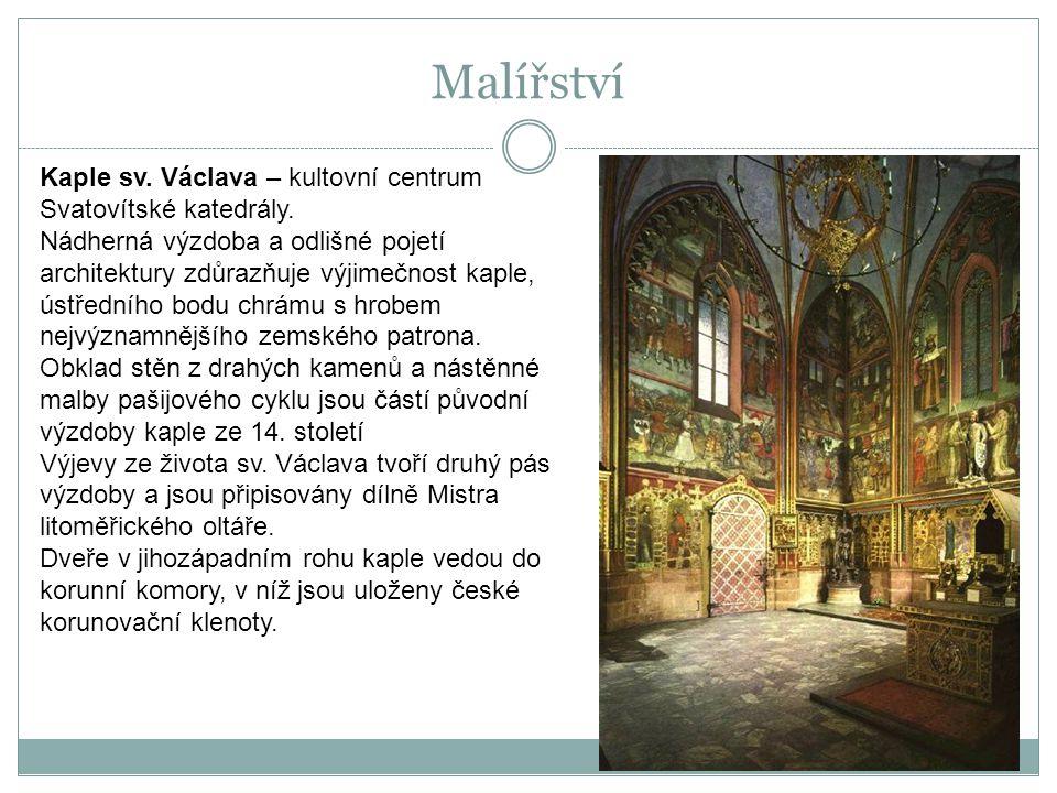 Kaple sv. Václava – kultovní centrum Svatovítské katedrály. Nádherná výzdoba a odlišné pojetí architektury zdůrazňuje výjimečnost kaple, ústředního bo