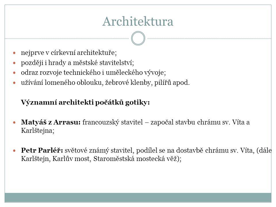 Architektura nejprve v církevní architektuře; později i hrady a městské stavitelství; odraz rozvoje technického i uměleckého vývoje; užívání lomeného