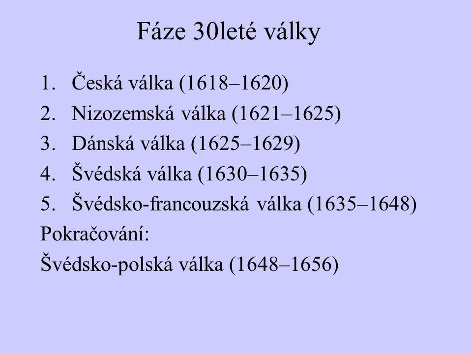Fáze 30leté války 1.Česká válka (1618–1620) 2.Nizozemská válka (1621–1625) 3.Dánská válka (1625–1629) 4.Švédská válka (1630–1635) 5.Švédsko-francouzská válka (1635–1648) Pokračování: Švédsko-polská válka (1648–1656)