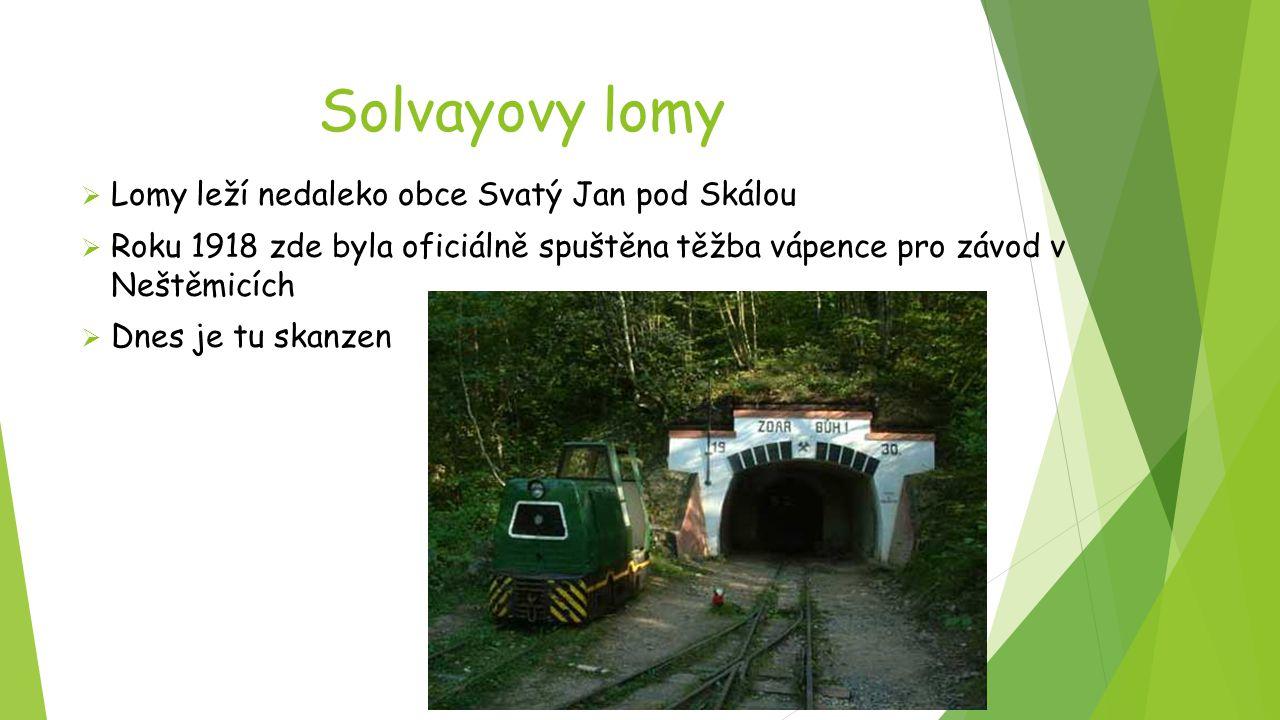 Solvayovy lomy  Lomy leží nedaleko obce Svatý Jan pod Skálou  Roku 1918 zde byla oficiálně spuštěna těžba vápence pro závod v Neštěmicích  Dnes je