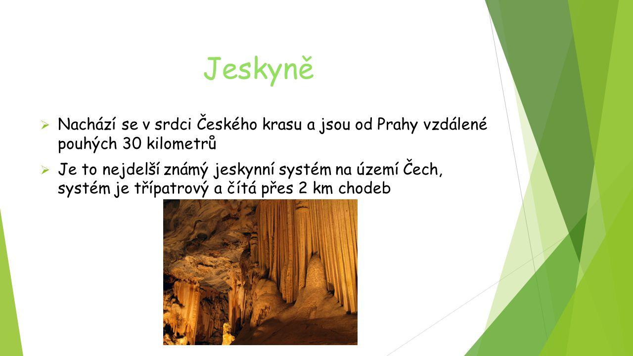 Jeskyně  Nachází se v srdci Českého krasu a jsou od Prahy vzdálené pouhých 30 kilometrů  Je to nejdelší známý jeskynní systém na území Čech, systém