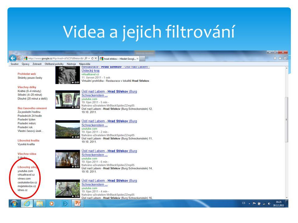 Videa a jejich filtrování