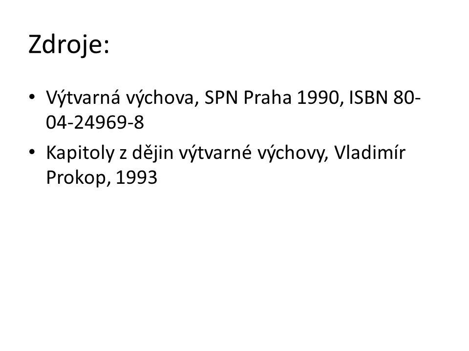 Zdroje: Výtvarná výchova, SPN Praha 1990, ISBN 80- 04-24969-8 Kapitoly z dějin výtvarné výchovy, Vladimír Prokop, 1993