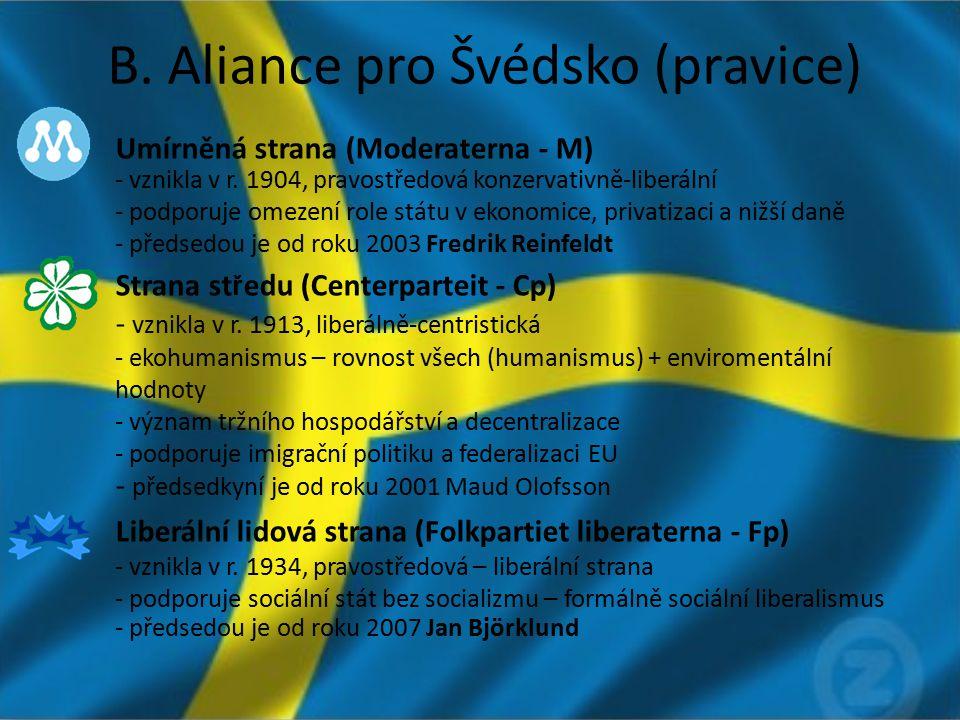 B. Aliance pro Švédsko (pravice) Umírněná strana (Moderaterna - M) - vznikla v r. 1904, pravostředová konzervativně-liberální - podporuje omezení role