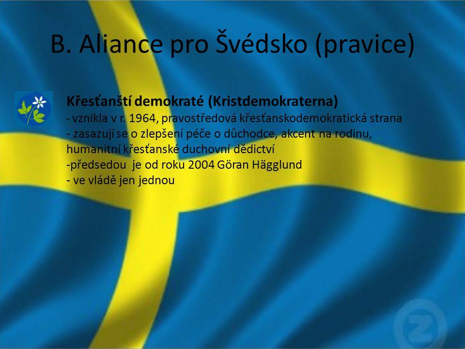 B. Aliance pro Švédsko (pravice) Křesťanští demokraté (Kristdemokraterna) - vznikla v r. 1964, pravostředová křesťanskodemokratická strana - zasazují