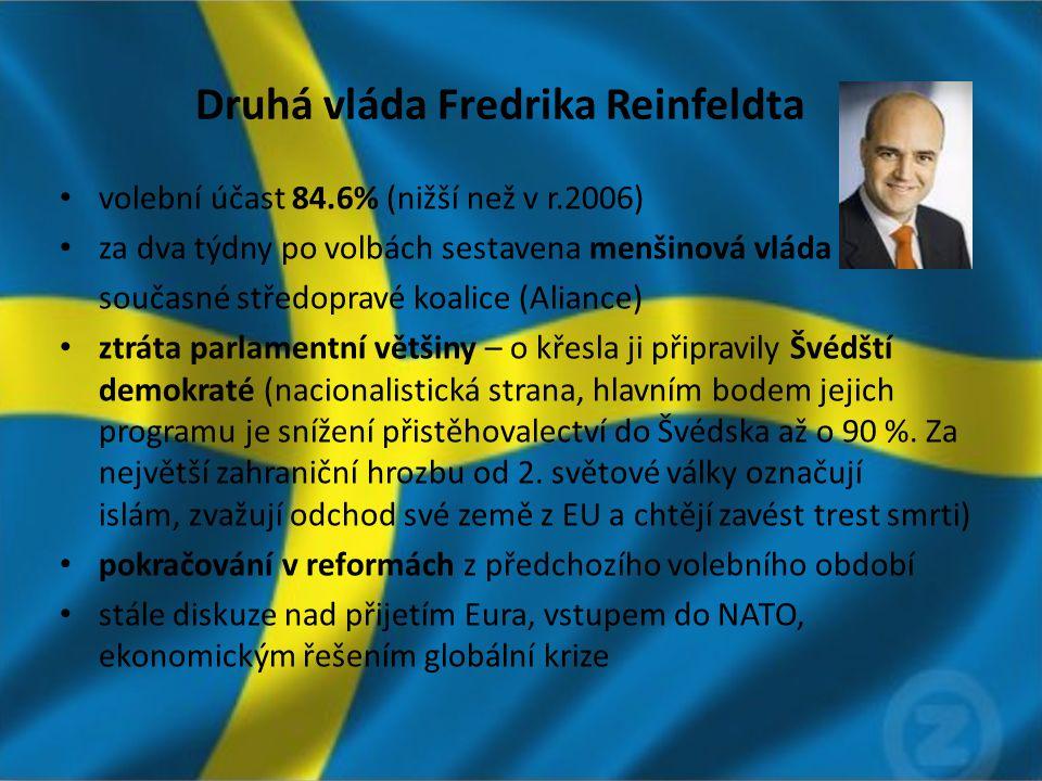 Druhá vláda Fredrika Reinfeldta volební účast 84.6% (nižší než v r.2006) za dva týdny po volbách sestavena menšinová vláda současné středopravé koalice (Aliance) ztráta parlamentní většiny – o křesla ji připravily Švédští demokraté (nacionalistická strana, hlavním bodem jejich programu je snížení přistěhovalectví do Švédska až o 90 %.