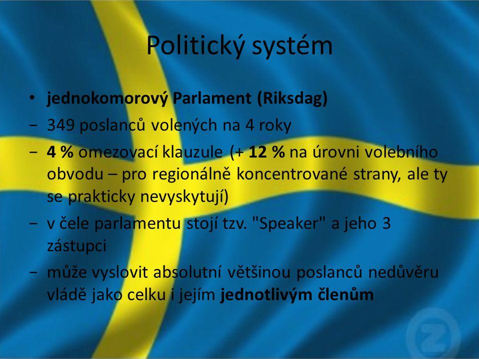 Politický systém jednokomorový Parlament (Riksdag) −349 poslanců volených na 4 roky −4 % omezovací klauzule (+ 12 % na úrovni volebního obvodu – pro regionálně koncentrované strany, ale ty se prakticky nevyskytují) −v čele parlamentu stojí tzv.