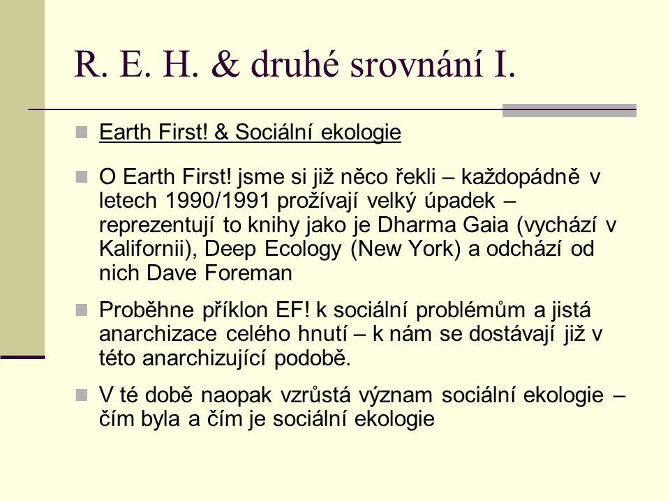 R.E. H. & druhé srovnání I. Earth First. & Sociální ekologie O Earth First.