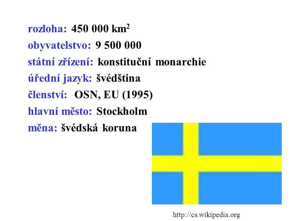 rozloha: 450 000 km 2 obyvatelstvo: 9 500 000 státní zřízení: konstituční monarchie úřední jazyk: švédština členství: OSN, EU (1995) hlavní město: Stockholm měna: švédská koruna http://cs.wikipedia.org