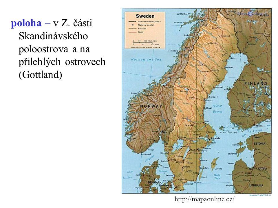 rozloha: 450 000 km 2 obyvatelstvo: 9 500 000 státní zřízení: konstituční monarchie úřední jazyk: švédština členství: OSN, EU (1995) hlavní město: Sto