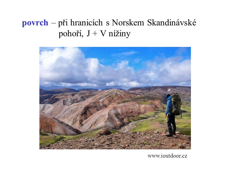 povrch – při hranicích s Norskem Skandinávské pohoří, J + V nížiny www.ioutdoor.cz