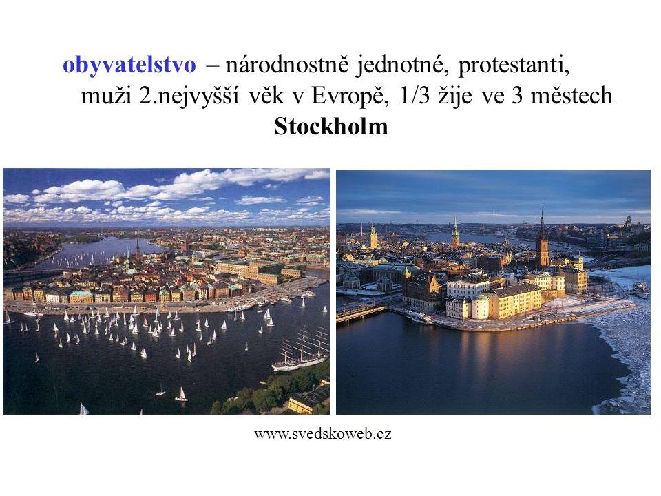 obyvatelstvo – národnostně jednotné, protestanti, muži 2.nejvyšší věk v Evropě, 1/3 žije ve 3 městech Stockholm www.svedskoweb.cz