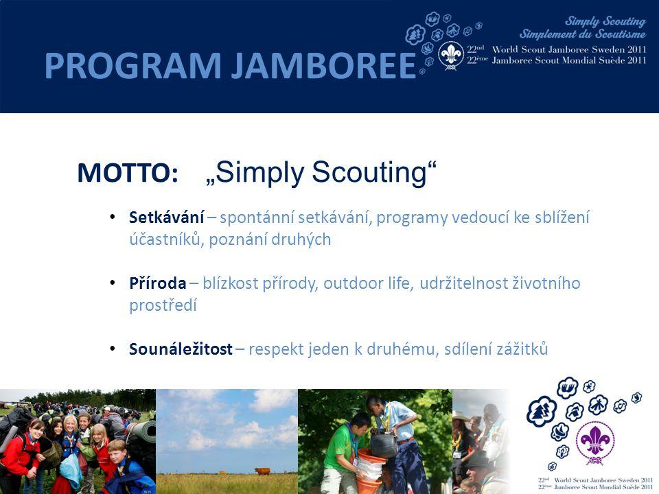 """MOTTO: """"Simply Scouting Setkávání – spontánní setkávání, programy vedoucí ke sblížení účastníků, poznání druhých Příroda – blízkost přírody, outdoor life, udržitelnost životního prostředí Sounáležitost – respekt jeden k druhému, sdílení zážitků PROGRAM JAMBOREE"""