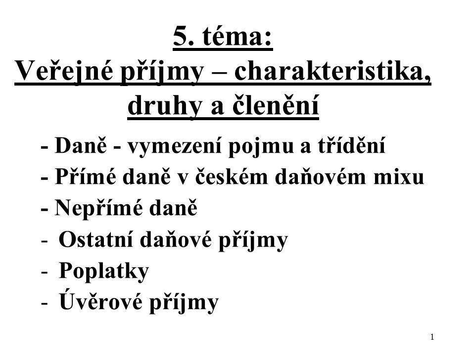 5. téma: Veřejné příjmy – charakteristika, druhy a členění - Daně - vymezení pojmu a třídění - Přímé daně v českém daňovém mixu - Nepřímé daně -Ostatn