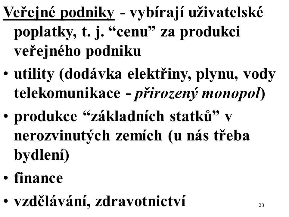 """Veřejné podniky - vybírají uživatelské poplatky, t. j. """"cenu"""" za produkci veřejného podniku utility (dodávka elektřiny, plynu, vody telekomunikace - p"""