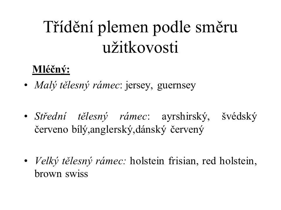 Třídění plemen podle směru užitkovosti Mléčný: Malý tělesný rámec: jersey, guernsey Střední tělesný rámec: ayrshirský, švédský červeno bílý,anglerský,dánský červený Velký tělesný rámec: holstein frisian, red holstein, brown swiss