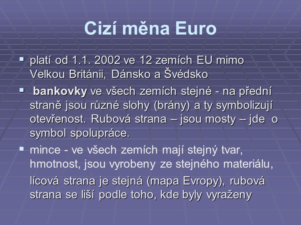 Cizí měna Euro  platí od 1.1. 2002 ve 12 zemích EU mimo Velkou Británii, Dánsko a Švédsko  bankovky ve všech zemích stejné - na přední straně jsou r