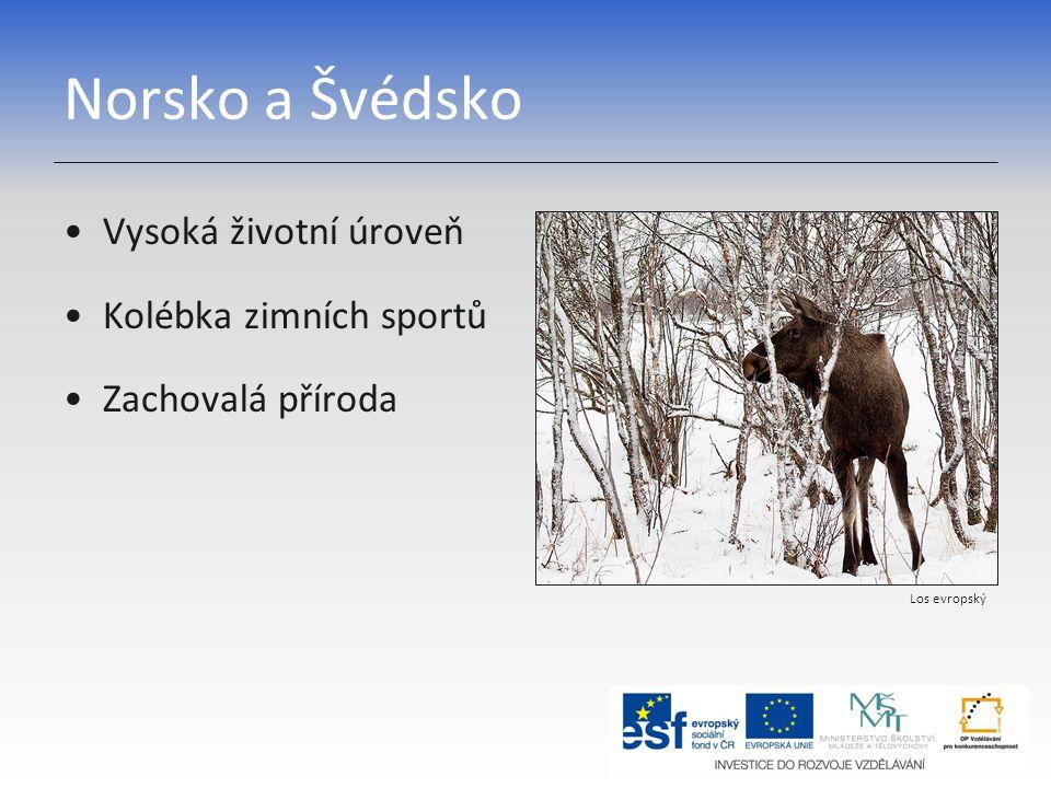 Norsko a Švédsko Vysoká životní úroveň Kolébka zimních sportů Zachovalá příroda Los evropský