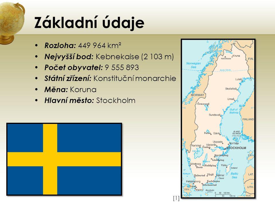 Základní údaje Rozloha: 449 964 km² Nejvyšší bod: Kebnekaise (2 103 m) Počet obyvatel: 9 555 893 Státní zřízení: Konstituční monarchie Měna: Koruna Hl