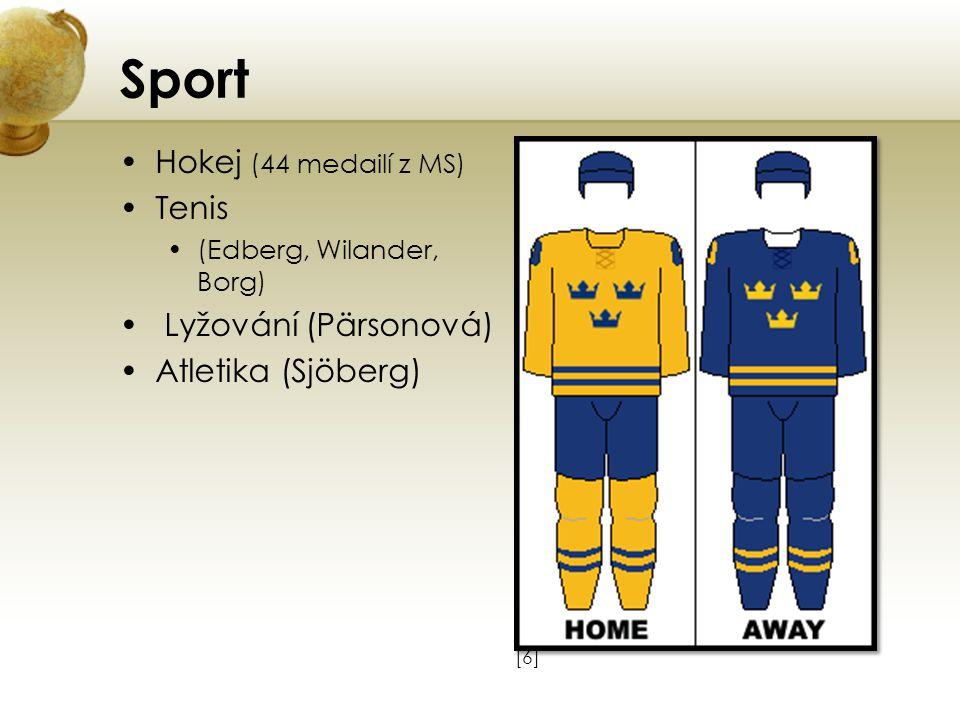 Sport Hokej (44 medailí z MS) Tenis (Edberg, Wilander, Borg) Lyžování (Pärsonová) Atletika (Sjöberg) [6][6]