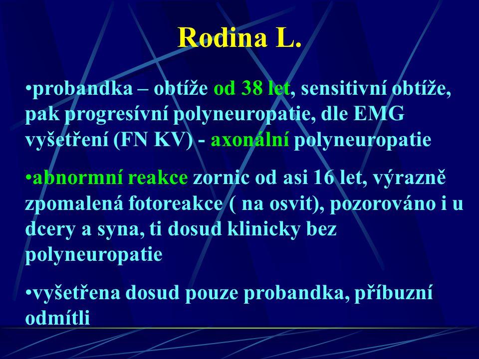 Rodina L. probandka – obtíže od 38 let, sensitivní obtíže, pak progresívní polyneuropatie, dle EMG vyšetření (FN KV) - axonální polyneuropatie abnormn
