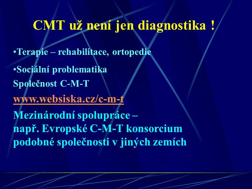CMT už není jen diagnostika ! Terapie – rehabilitace, ortopedie Sociální problematika Společnost C-M-T www.websiska.cz/c-m-t Mezinárodní spolupráce –