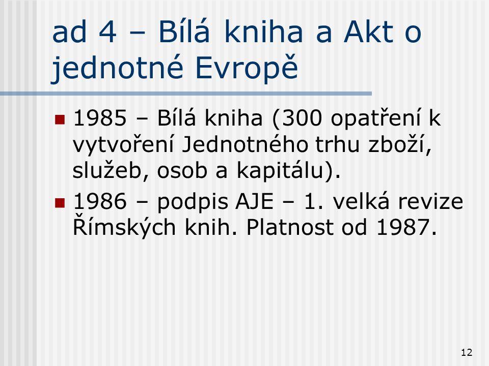12 ad 4 – Bílá kniha a Akt o jednotné Evropě 1985 – Bílá kniha (300 opatření k vytvoření Jednotného trhu zboží, služeb, osob a kapitálu). 1986 – podpi