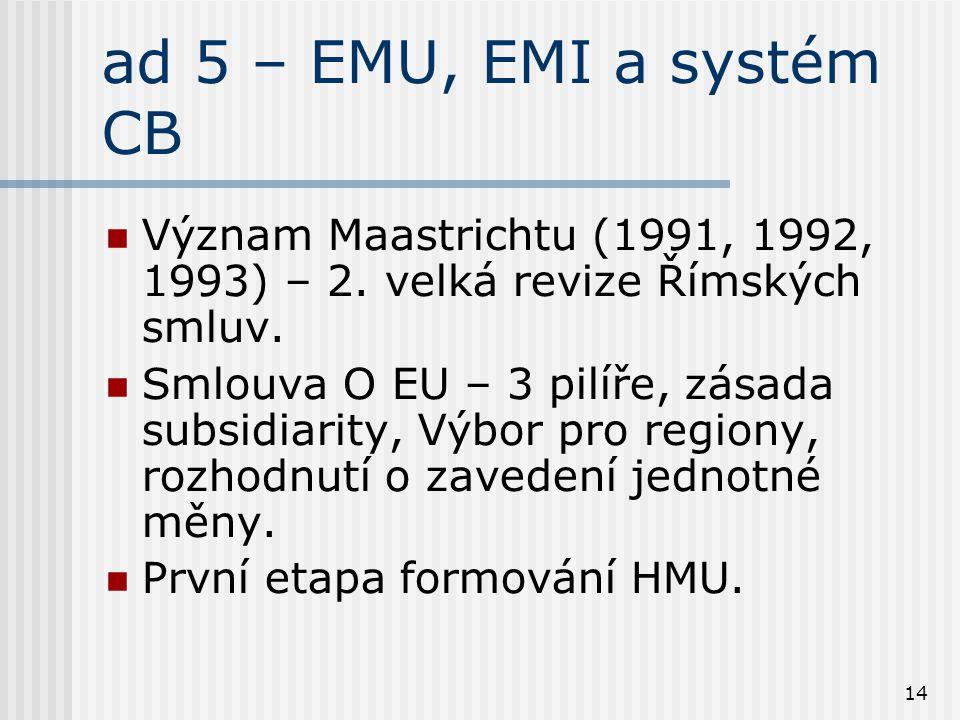 14 ad 5 – EMU, EMI a systém CB Význam Maastrichtu (1991, 1992, 1993) – 2. velká revize Římských smluv. Smlouva O EU – 3 pilíře, zásada subsidiarity, V
