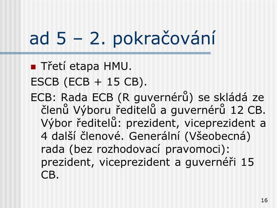 16 ad 5 – 2. pokračování Třetí etapa HMU. ESCB (ECB + 15 CB). ECB: Rada ECB (R guvernérů) se skládá ze členů Výboru ředitelů a guvernérů 12 CB. Výbor