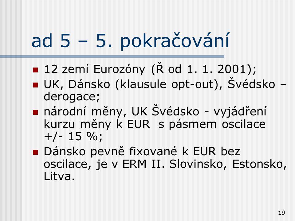19 ad 5 – 5. pokračování 12 zemí Eurozóny (Ř od 1. 1. 2001); UK, Dánsko (klausule opt-out), Švédsko – derogace; národní měny, UK Švédsko - vyjádření k