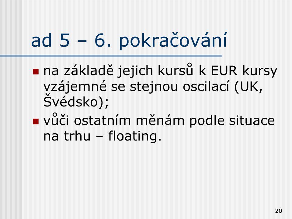 20 ad 5 – 6. pokračování na základě jejich kursů k EUR kursy vzájemné se stejnou oscilací (UK, Švédsko); vůči ostatním měnám podle situace na trhu – f