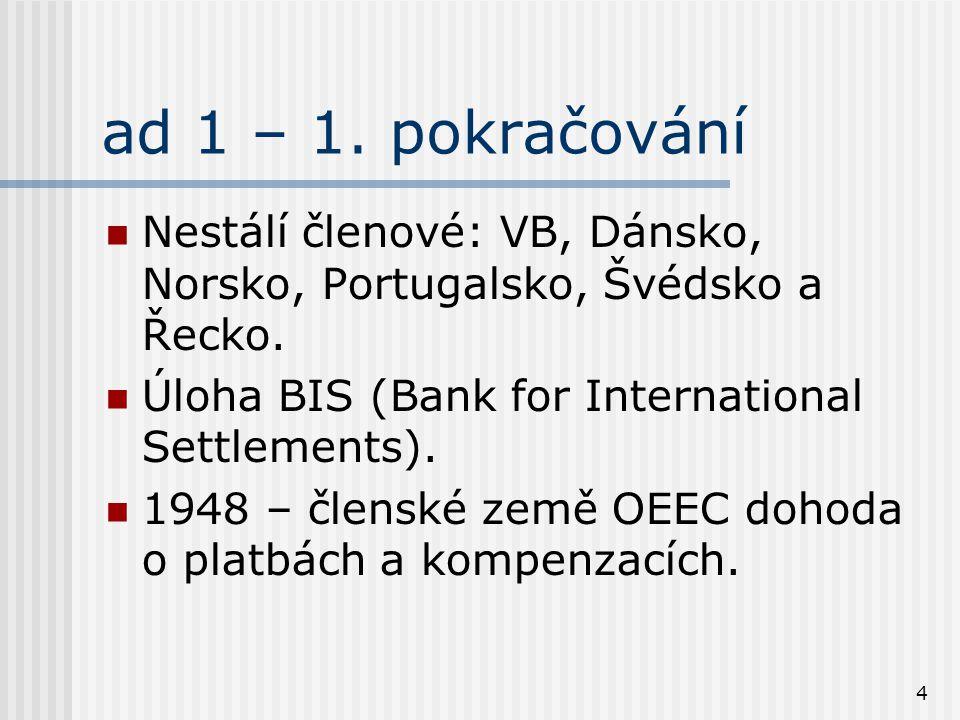 4 ad 1 – 1. pokračování Nestálí členové: VB, Dánsko, Norsko, Portugalsko, Švédsko a Řecko. Úloha BIS (Bank for International Settlements). 1948 – člen