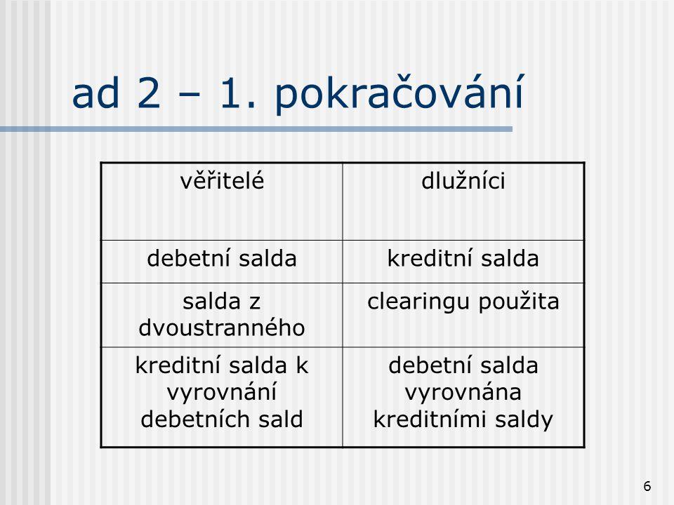 6 ad 2 – 1. pokračování věřitelédlužníci debetní saldakreditní salda salda z dvoustranného clearingu použita kreditní salda k vyrovnání debetních sald