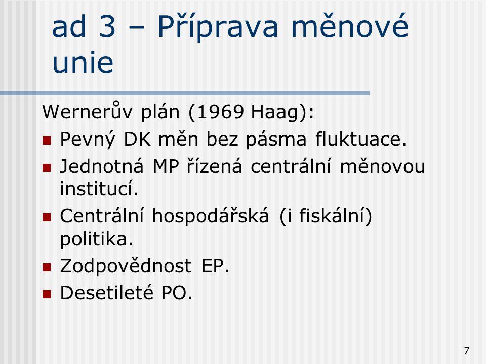 7 ad 3 – Příprava měnové unie Wernerův plán (1969 Haag): Pevný DK měn bez pásma fluktuace. Jednotná MP řízená centrální měnovou institucí. Centrální h